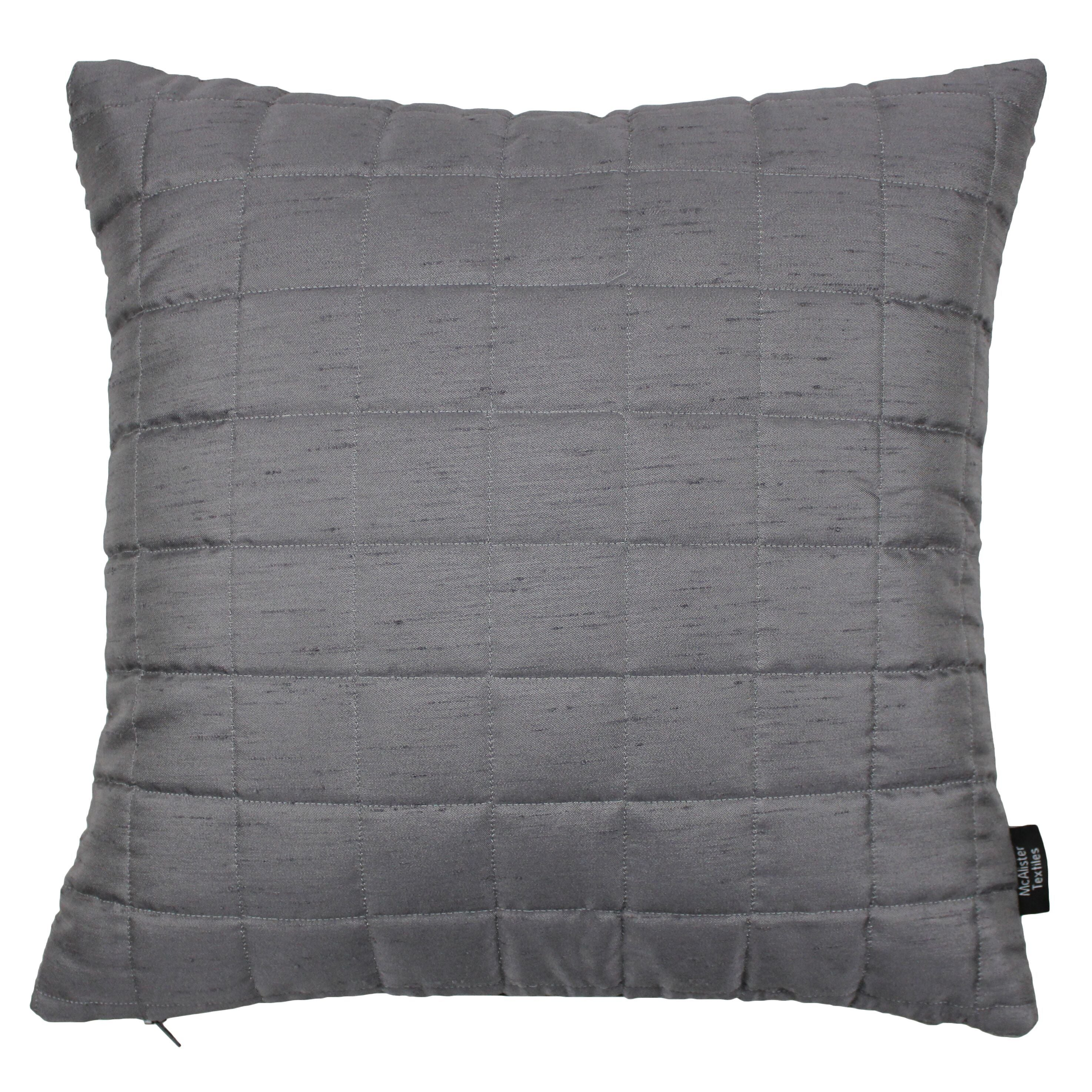McAlister Textiles Rocco Square Quilted Charcoal Grey Silk Pillow Pillow