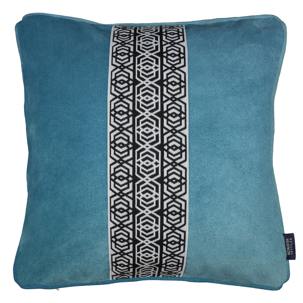 McAlister Textiles Coba Striped Duck Egg Blue Velvet Cushion Cushions and Covers Polyester Filler 43cm x 43cm
