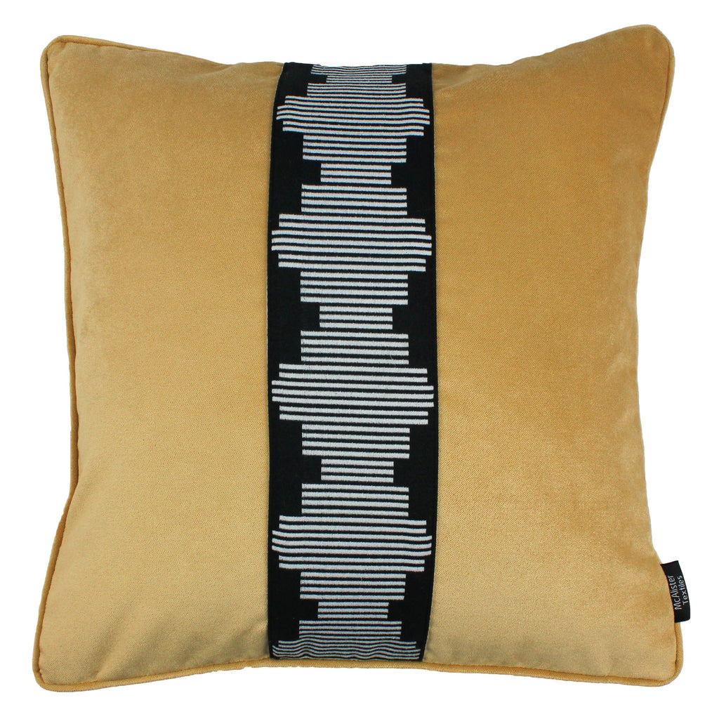 McAlister Textiles Maya Striped Ochre Yellow Velvet Cushion Cushions and Covers Polyester Filler 43cm x 43cm