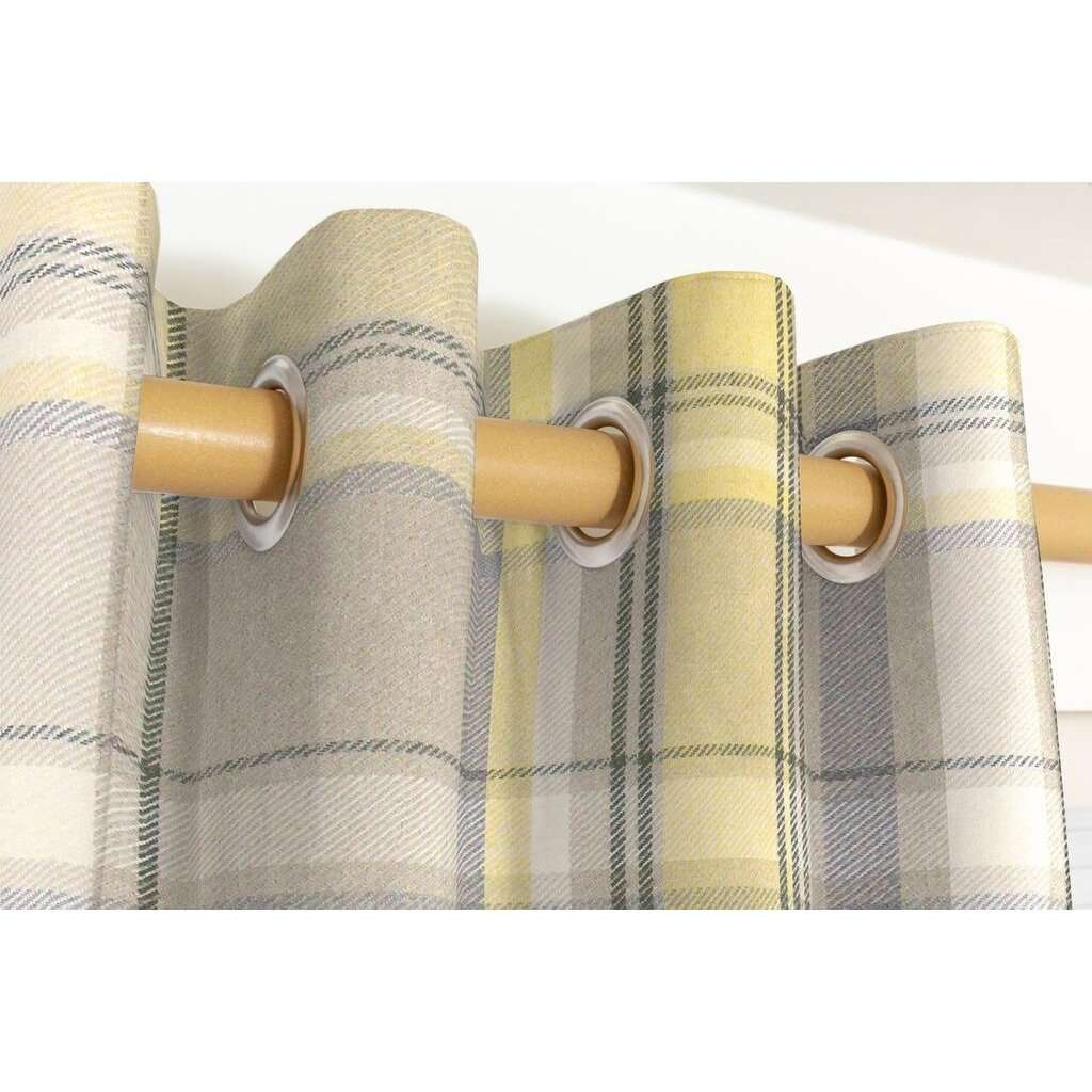 McAlister Textiles Heritage Yellow + Grey Tartan Curtains Tailored Curtains