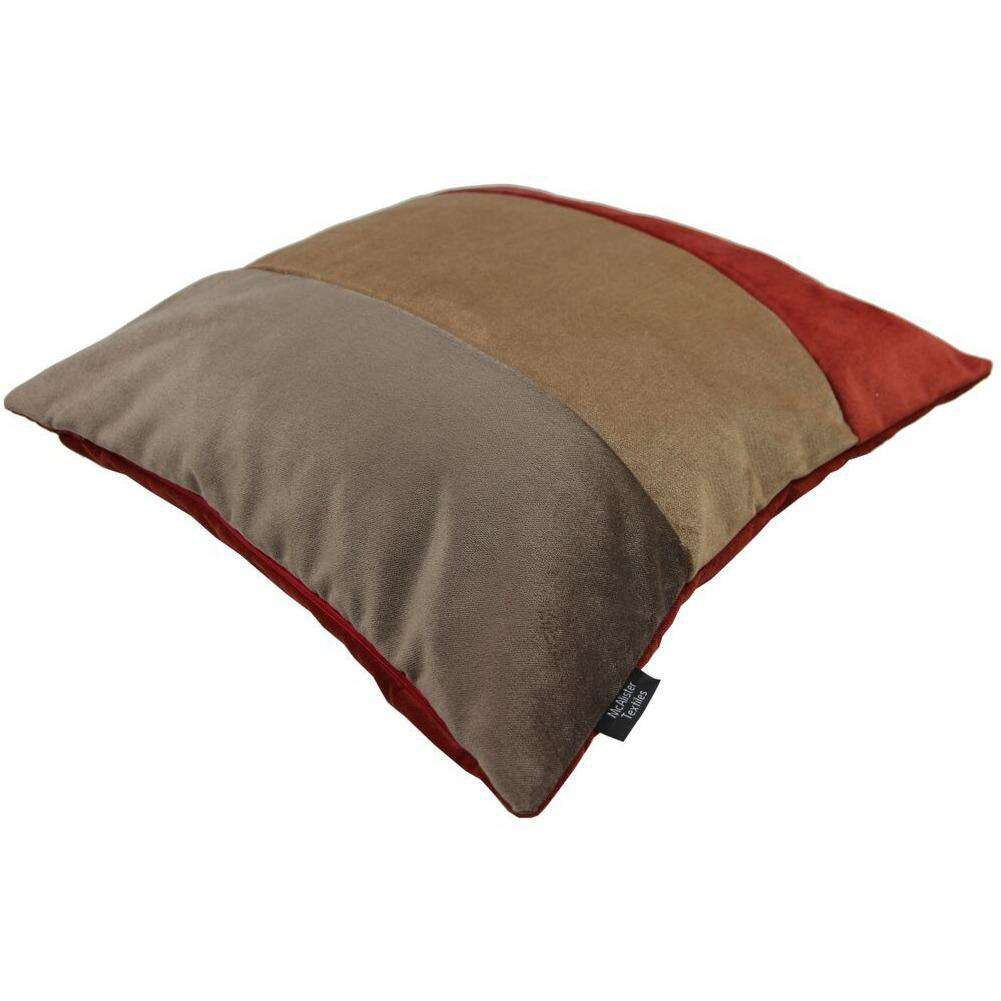McAlister Textiles Straight Patchwork Velvet Brown, Gold + Red Cushion Cushions and Covers