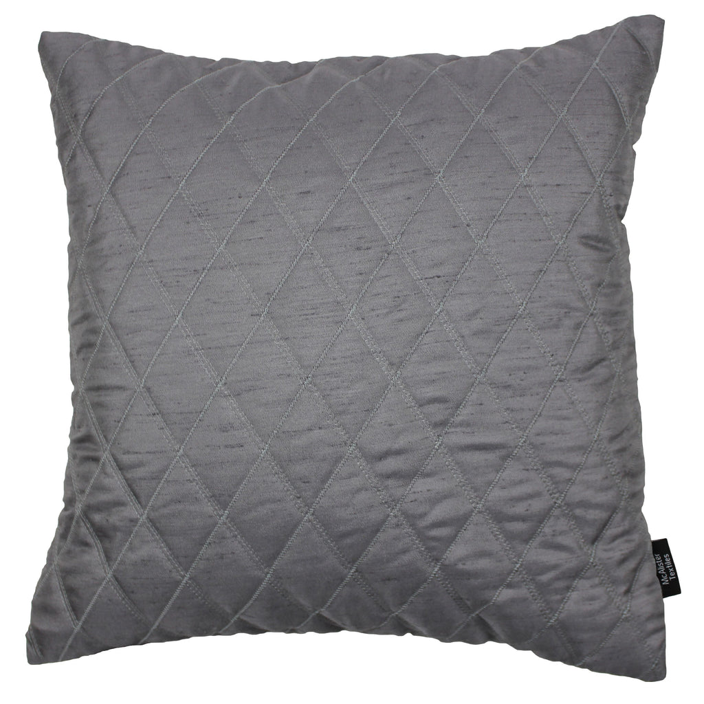 McAlister Textiles Rocco Diamond Quilted Charcoal Grey Silk Cushion Cushions and Covers Cover Only 43cm x 43cm