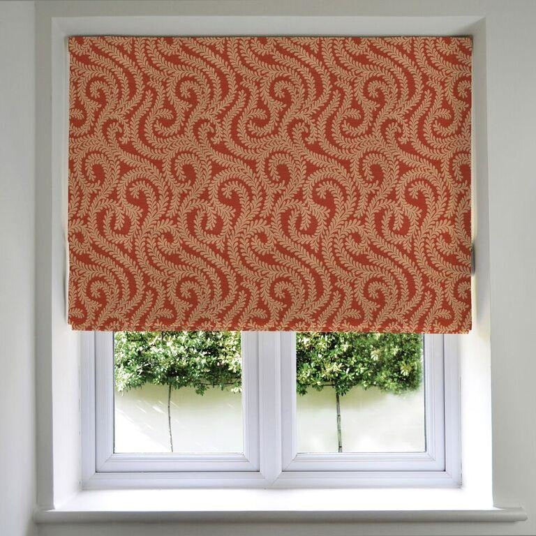 McAlister Textiles Little Leaf Burnt Orange Roman Blind Roman Blinds Standard Lining 130cm x 200cm