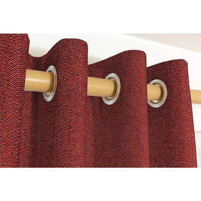 McAlister Textiles Herringbone Red Curtains Tailored Curtains