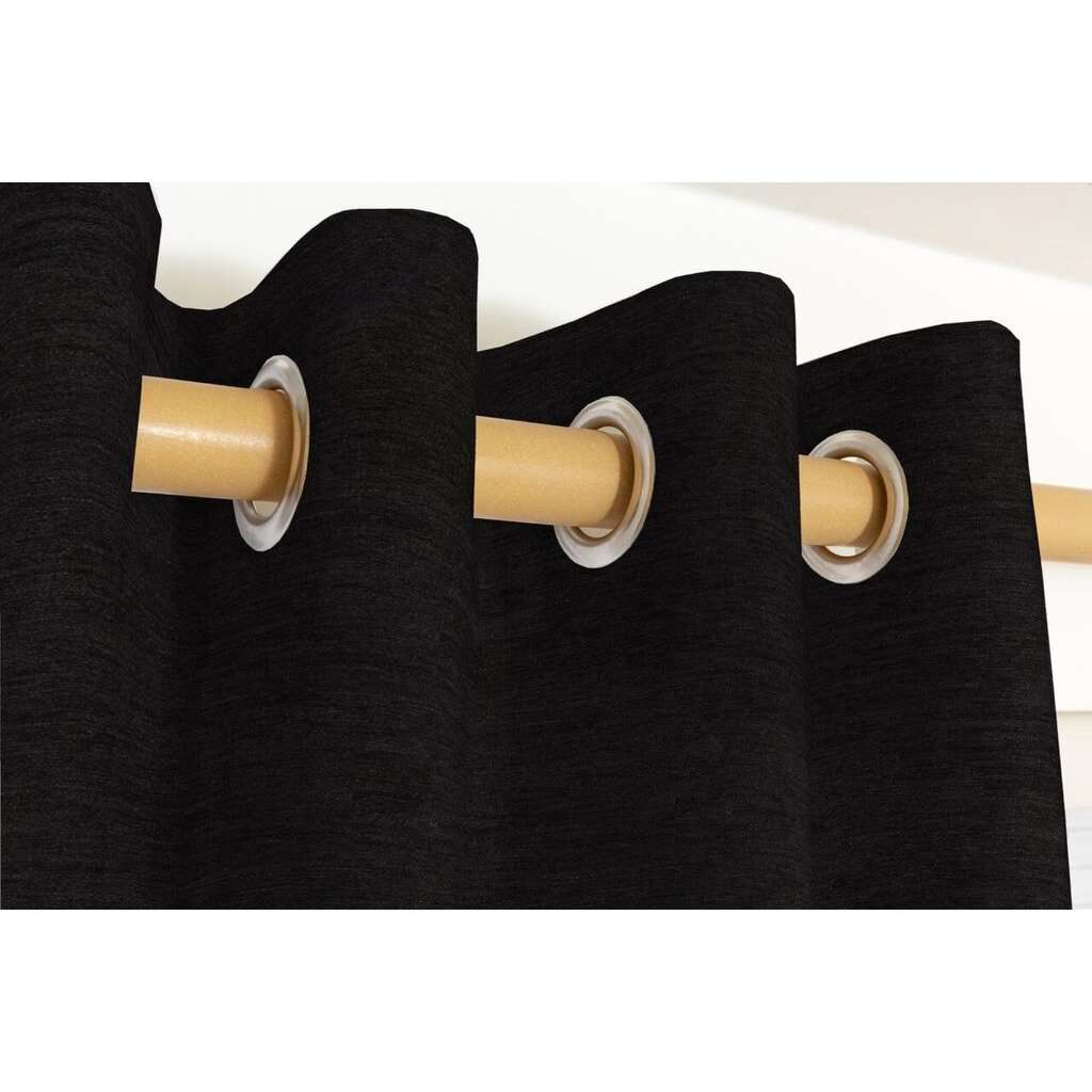 McAlister Textiles Plain Chenille Black Curtains Tailored Curtains