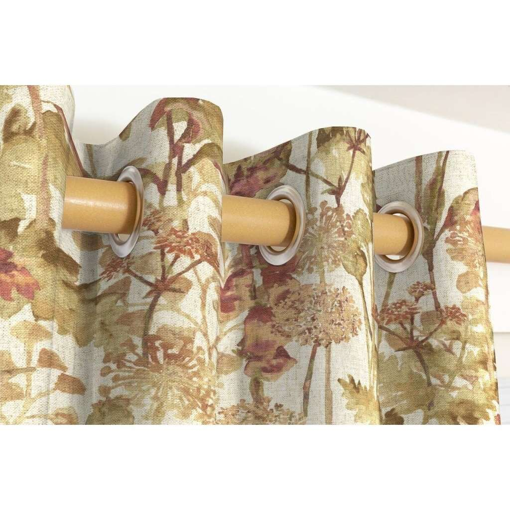 McAlister Textiles Wildflower Burnt Orange Linen Curtains Tailored Curtains