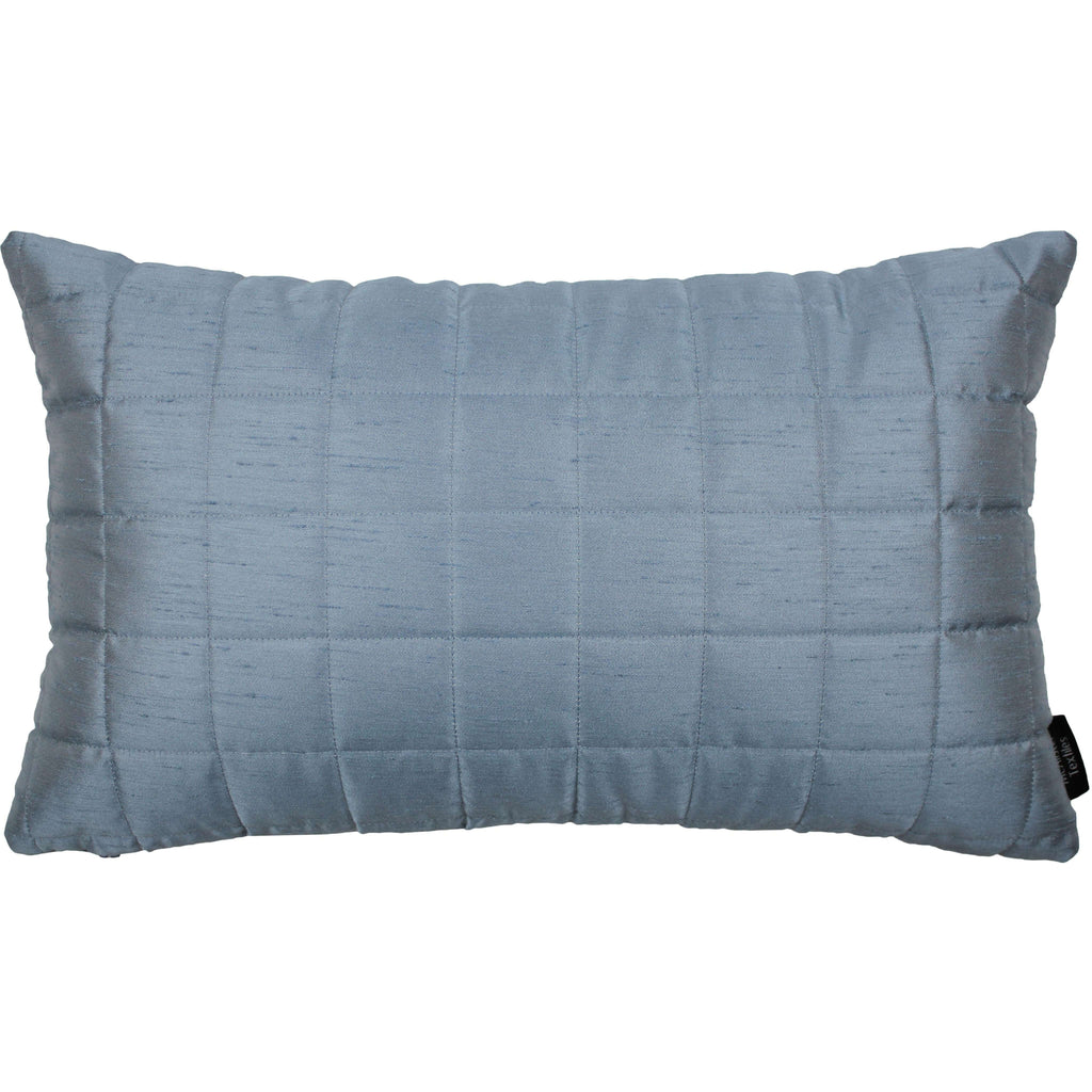 McAlister Textiles Rocco Square Quilted Wedgewood Blue Silk Cushion Cushions and Covers Cover Only 50cm x 30cm