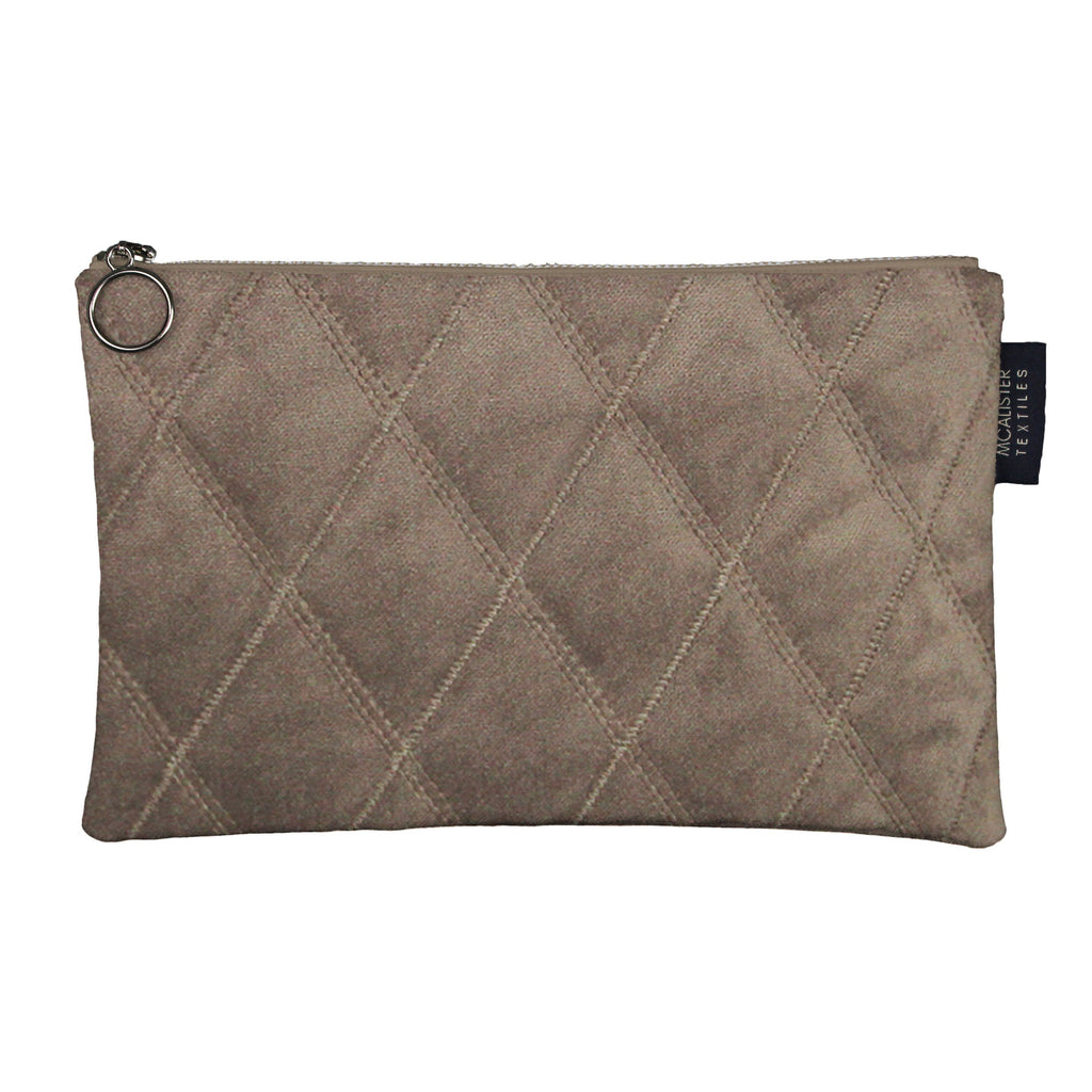 McAlister Textiles Diamond Pattern Mocha Velvet Makeup Bag - Large Clutch Bag