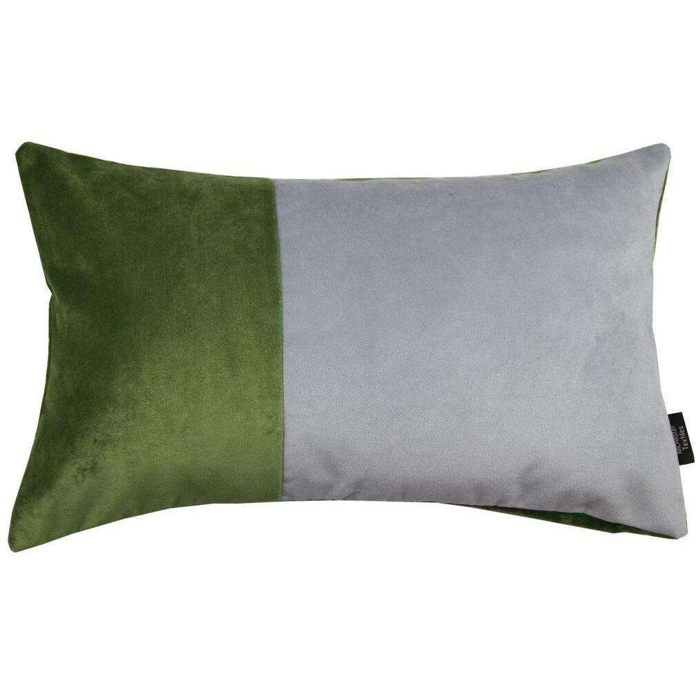 McAlister Textiles 2 Colour Patchwork Velvet Green + Silver Pillow Pillow Cover Only 50cm x 30cm