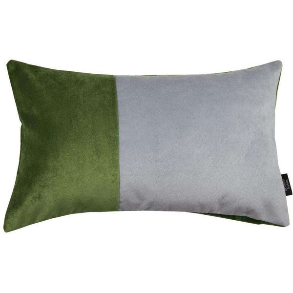 McAlister Textiles 2 Colour Patchwork Velvet Green + Silver Pillow Cushions and Covers