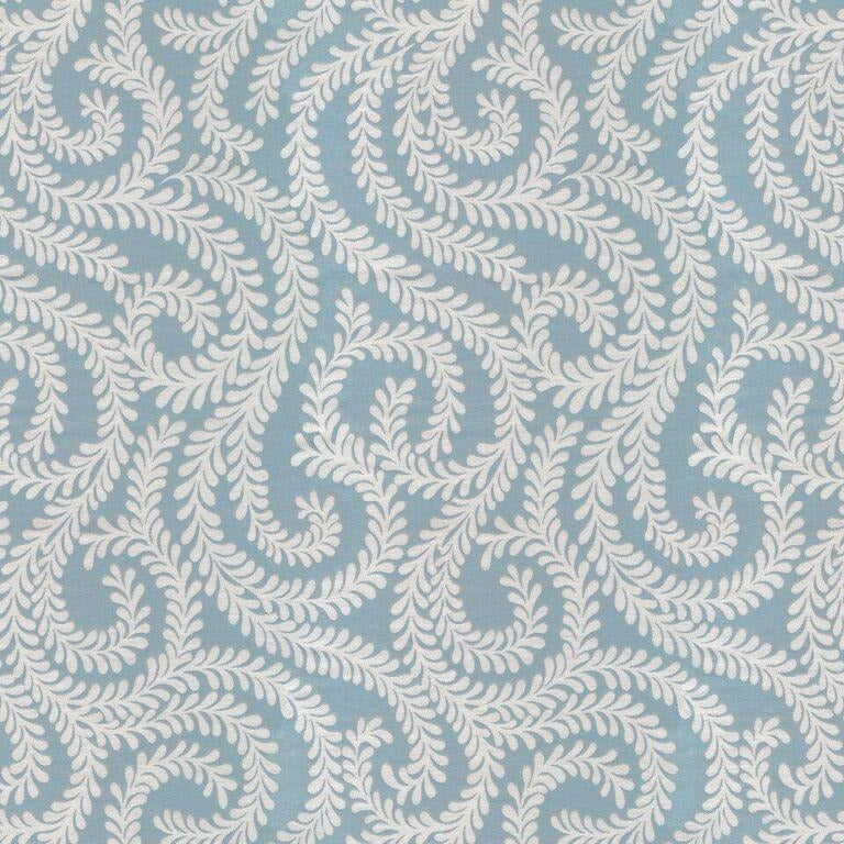 McAlister Textiles Little Leaf Wedgewood Blue Curtains Tailored Curtains