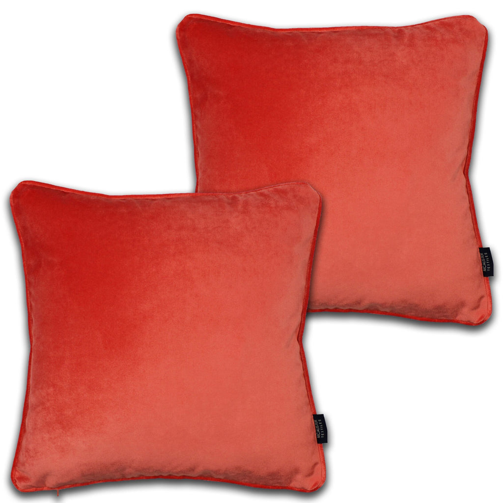 McAlister Textiles Matt Coral Pink Velvet 43cm x 43cm Cushion Sets Cushions and Covers Cushion Covers Set of 2