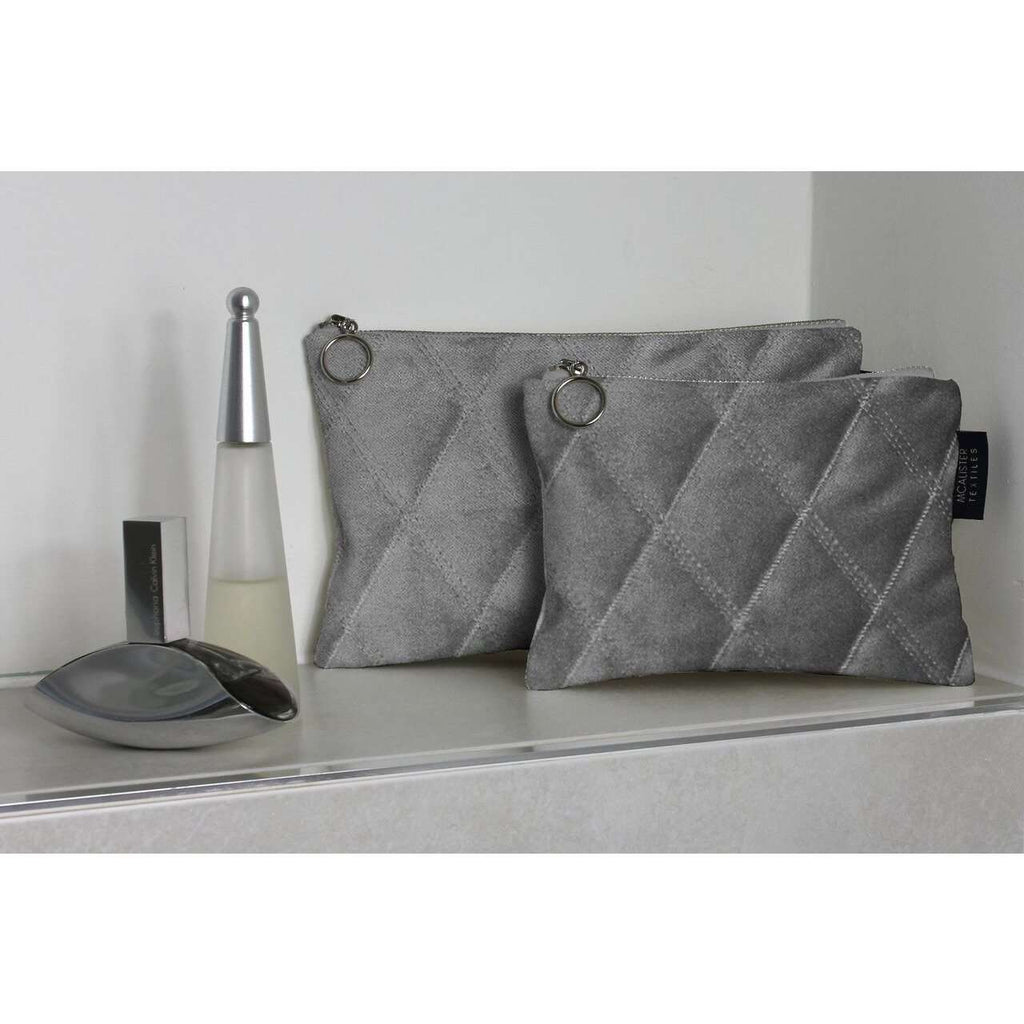 McAlister Textiles Diamond Pattern Silver Velvet Makeup Bag Set Clutch Bag