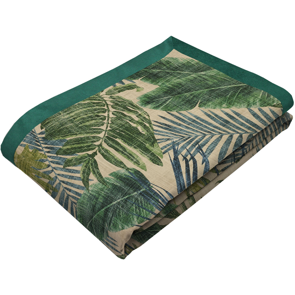 McAlister Textiles Palm Leaf Velvet Print Throw Blanket Throws and Runners Regular (130cm x 200cm)