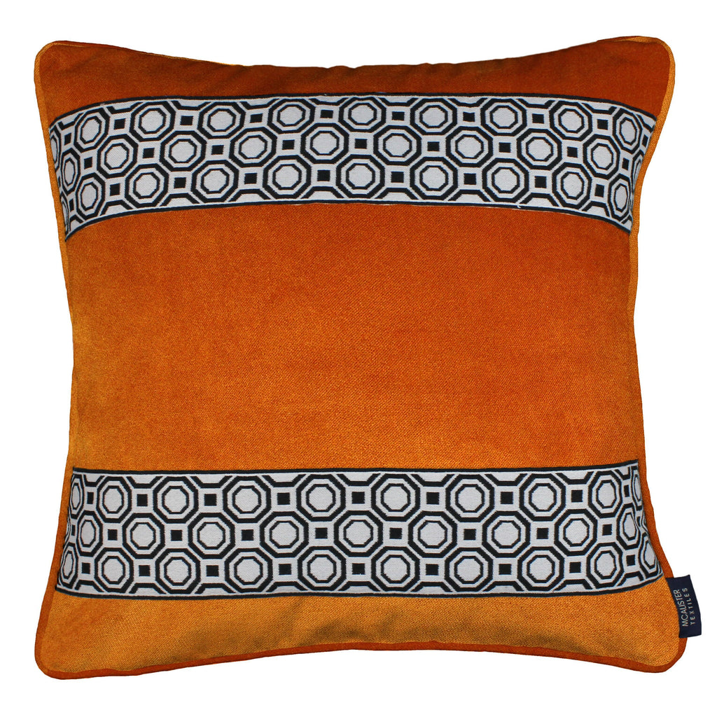 McAlister Textiles Cancun Striped Burnt Orange Velvet Cushion Cushions and Covers Polyester Filler 43cm x 43cm