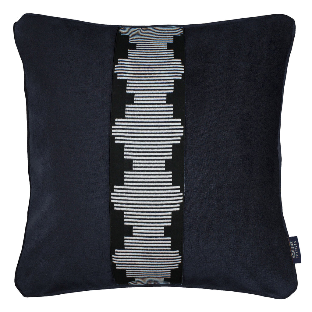 McAlister Textiles Maya Striped Black Velvet Cushion Cushions and Covers Polyester Filler 43cm x 43cm