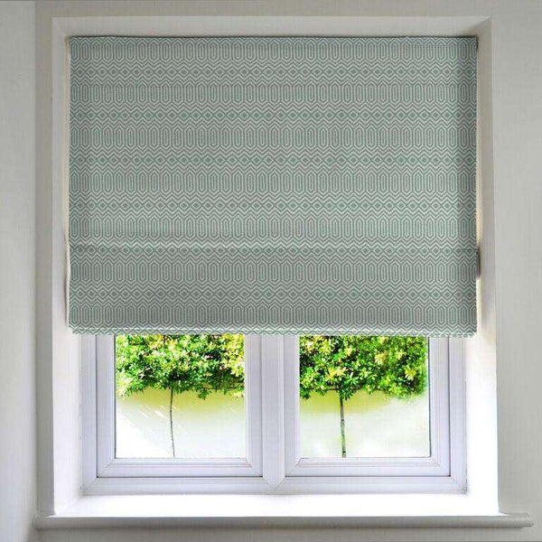 McAlister Textiles Colorado Geometric Duck Egg Blue Roman Blind Roman Blinds