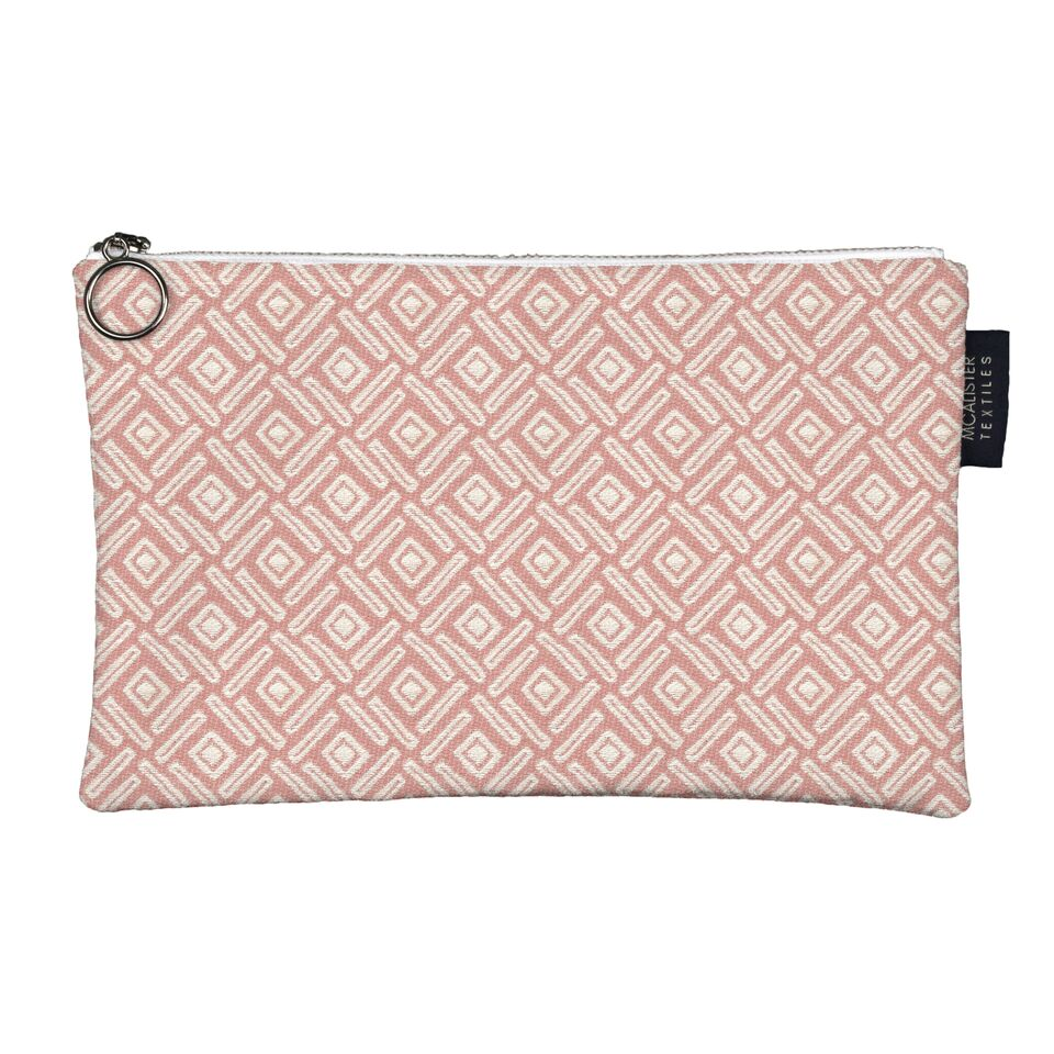 McAlister Textiles Elva Pink + Grey Makeup Bag - Large Clutch Bag