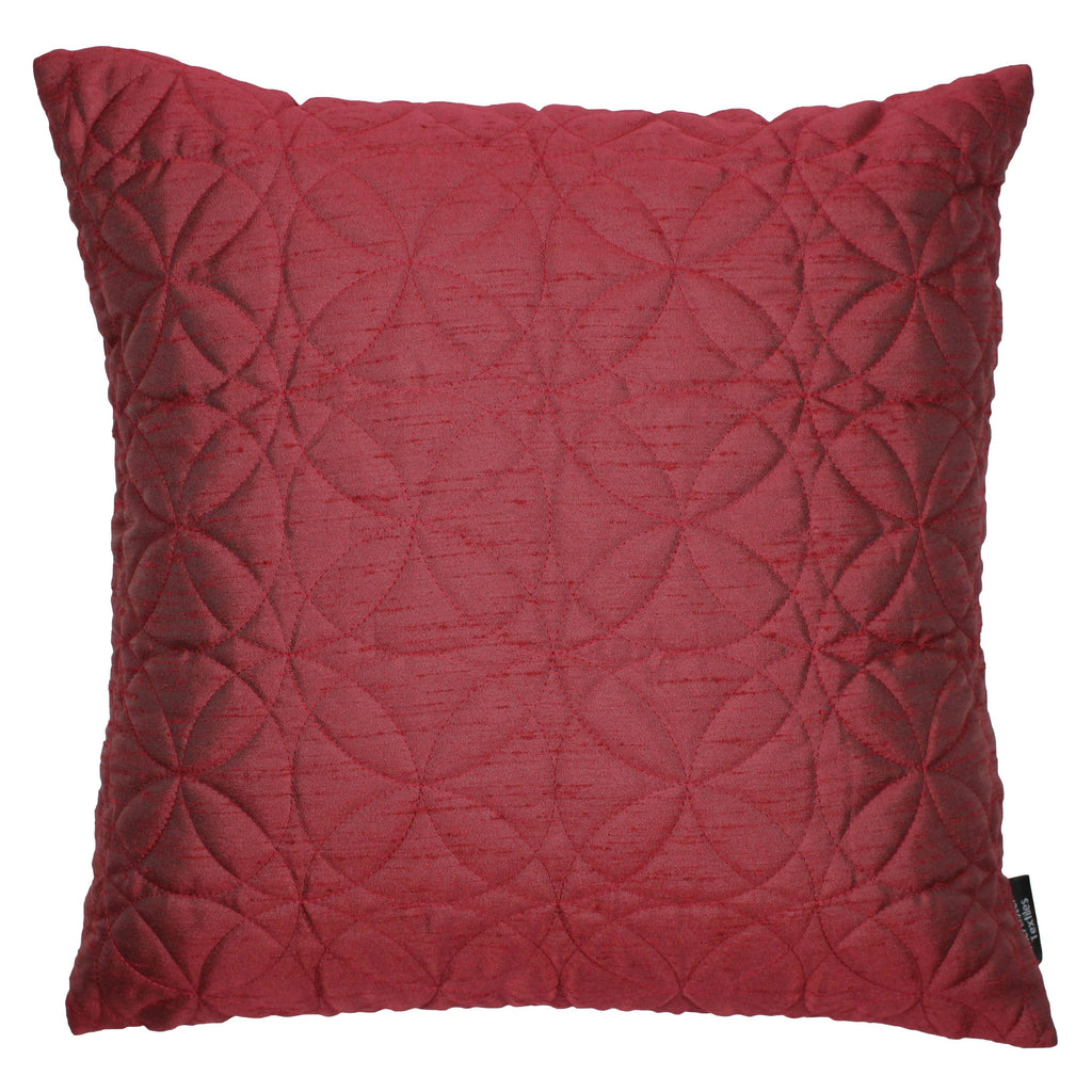 McAlister Textiles Rocco Round Quilted Wine Red Silk Cushion Cushions and Covers Cover Only 43cm x 43cm