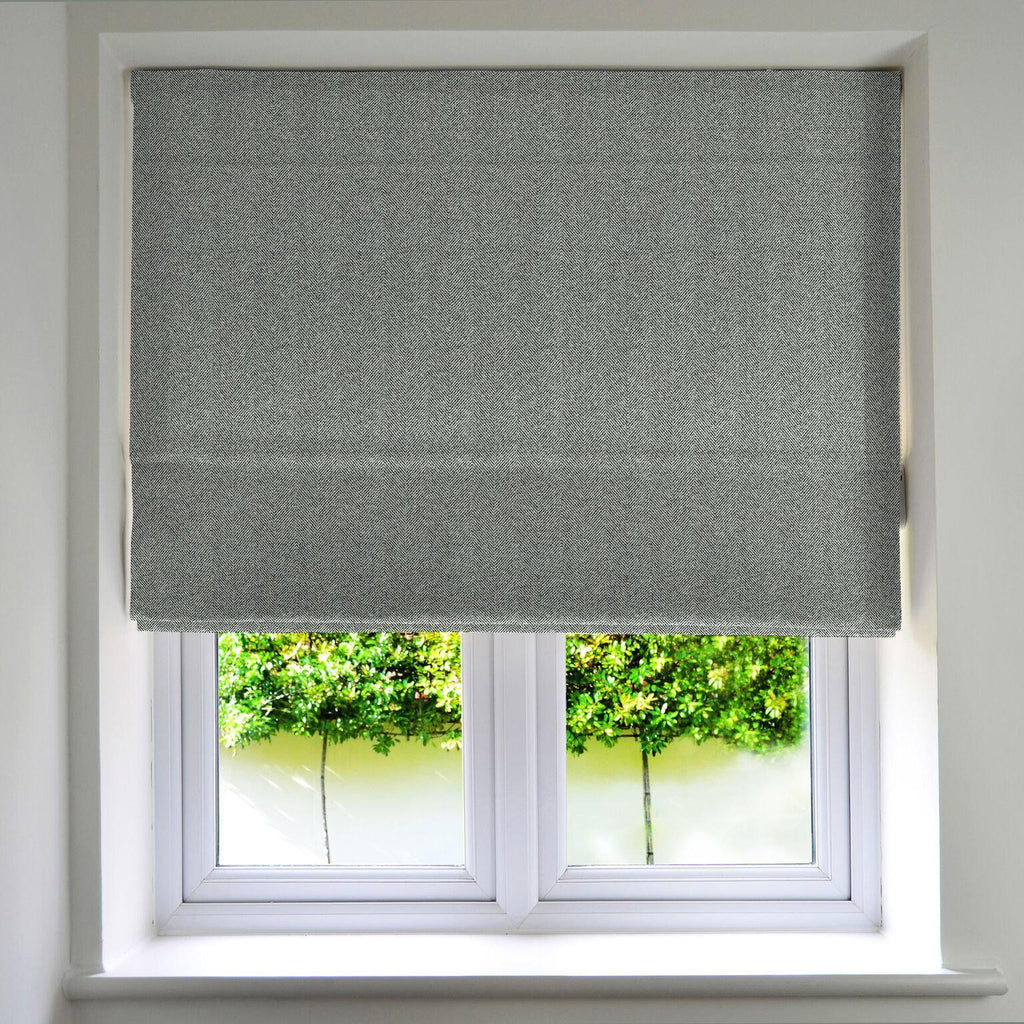 McAlister Textiles Herringbone Charcoal Grey Roman Blind Roman Blinds Standard Lining 130cm x 200cm