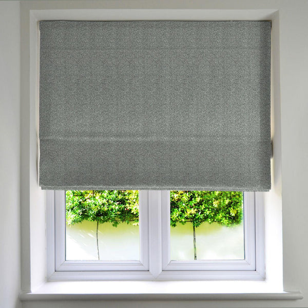 McAlister Textiles Herringbone Charcoal Grey Roman Blinds Roman Blinds