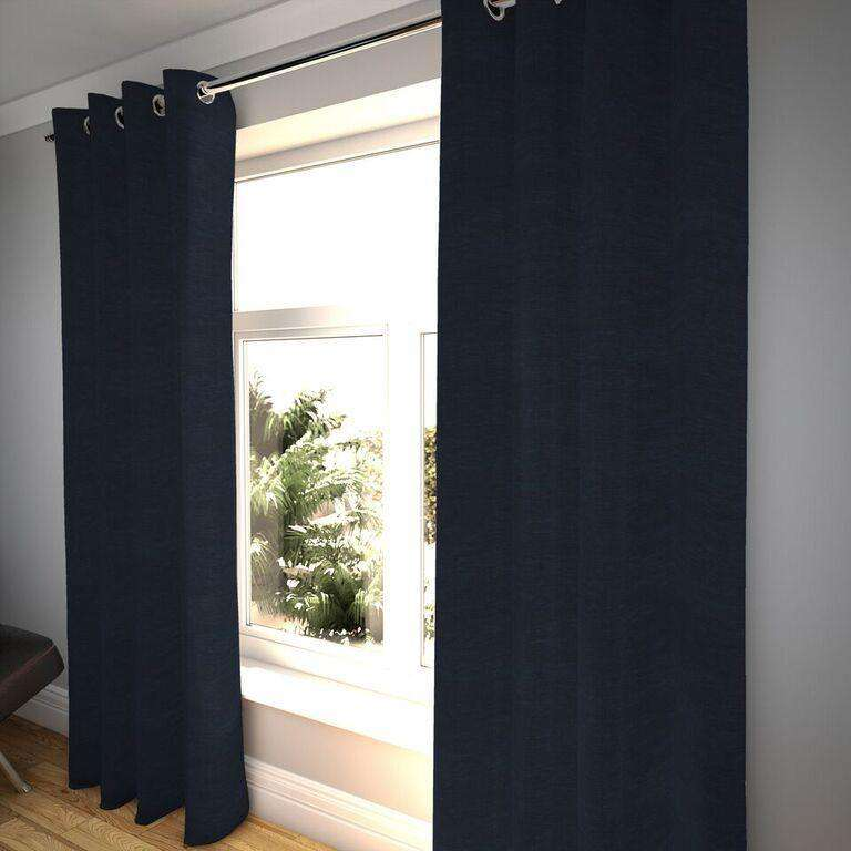 McAlister Textiles Plain Chenille Navy Blue Curtains Tailored Curtains