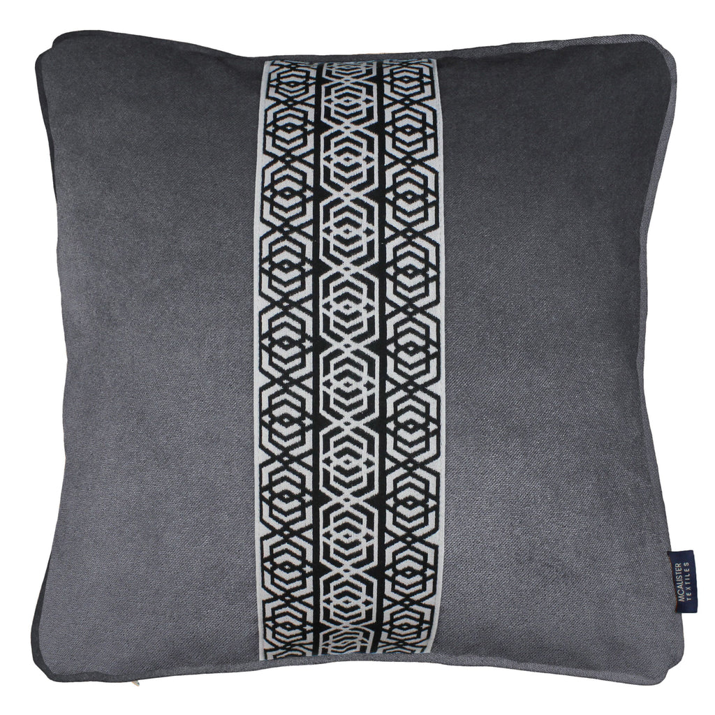 McAlister Textiles Coba Striped Charcoal Grey Velvet Cushion Cushions and Covers Polyester Filler 43cm x 43cm