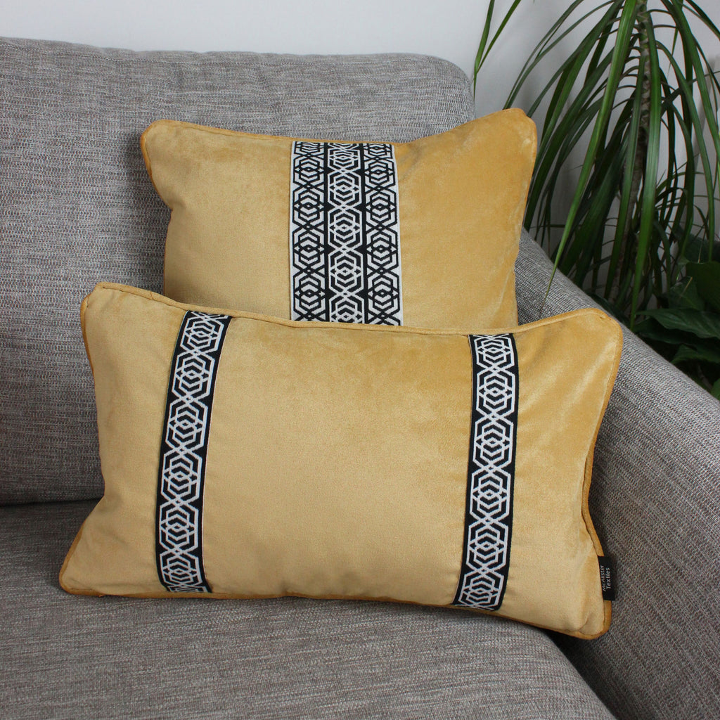 McAlister Textiles Coba Striped Ochre Yellow Velvet Cushion Cushions and Covers