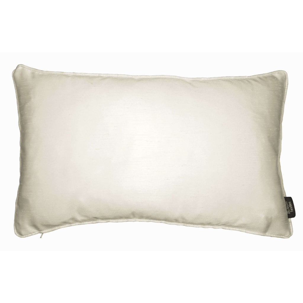 McAlister Textiles Rocco Plain Faux Silk Natural Pillow Pillow Cover Only 50cm x 30cm