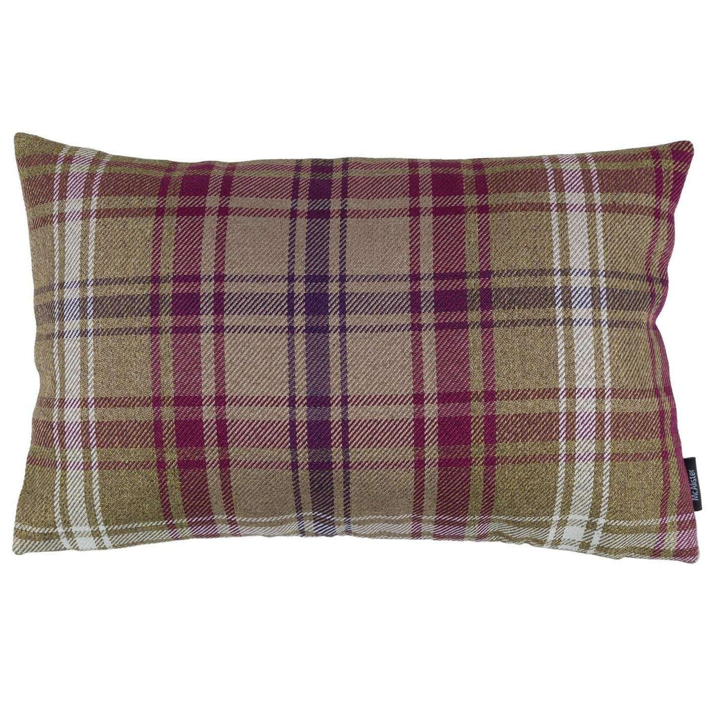 McAlister Textiles Angus Purple + Green Tartan Cushion Cushions and Covers Cover Only 50cm x 30cm