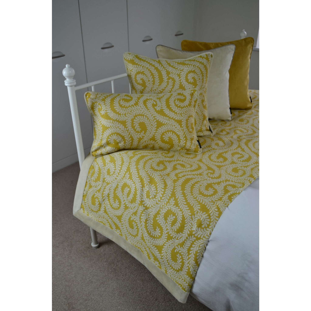 McAlister Textiles Little Leaf Ochre Yellow Cushion Cushions and Covers