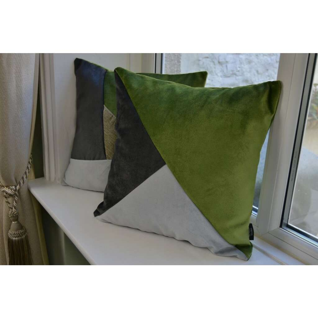 McAlister Textiles Diagonal Patchwork Velvet Green, Silver + Grey Cushion Cushions and Covers