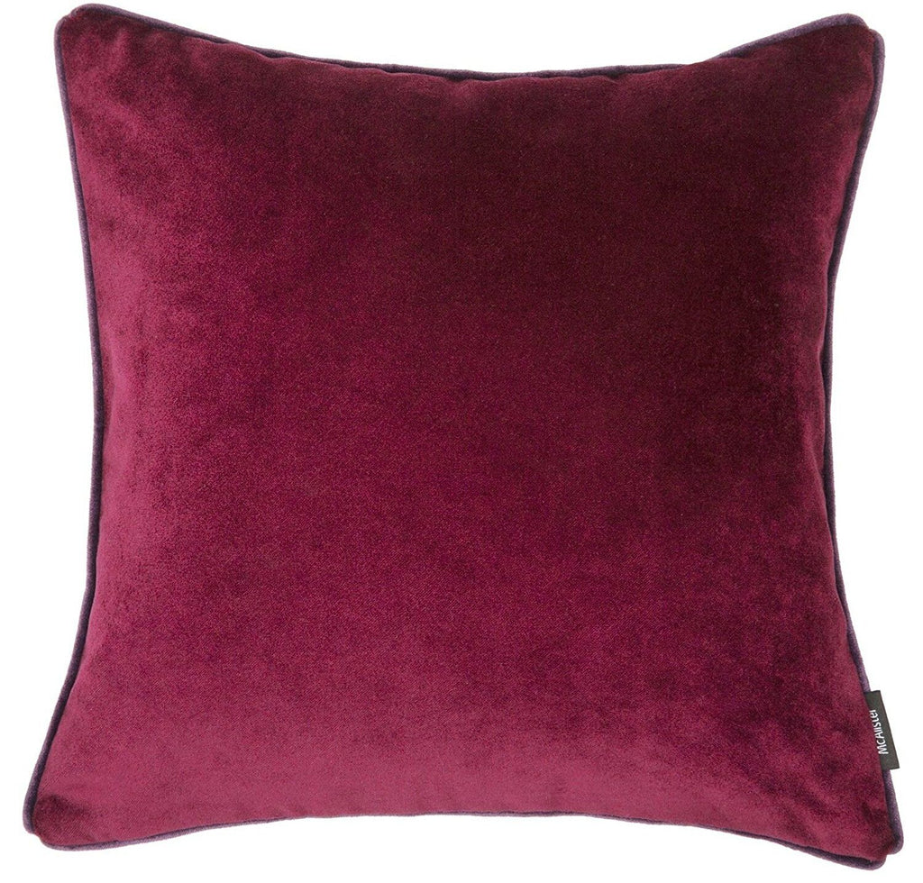 McAlister Textiles Matt Wine Red Velvet 43cm x 43cm Cushion Sets Cushions and Covers
