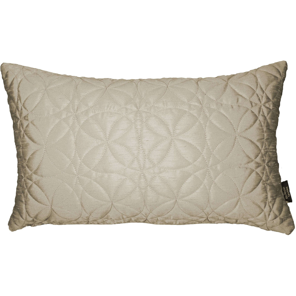 McAlister Textiles Rocco Round Quilted Ivory Silk Pillow Pillow Cover Only 50cm x 30cm