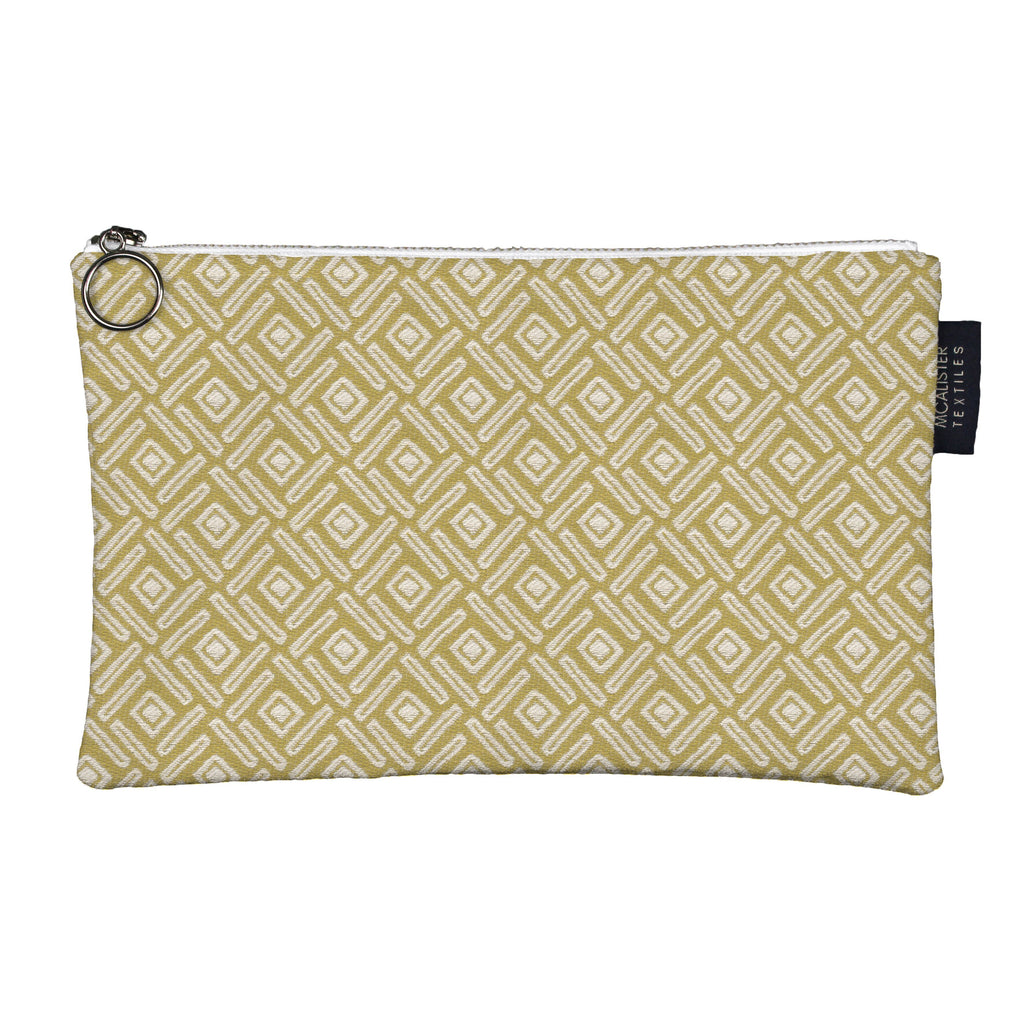 McAlister Textiles Elva Yellow + Grey Makeup Bag - Large Clutch Bag