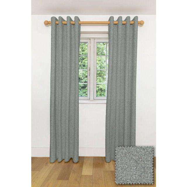 "McAlister Textiles Herringbone Charcoal Grey Curtains Tailored Curtains 116cm(w) x 182cm(d) (46"" x 72"")"