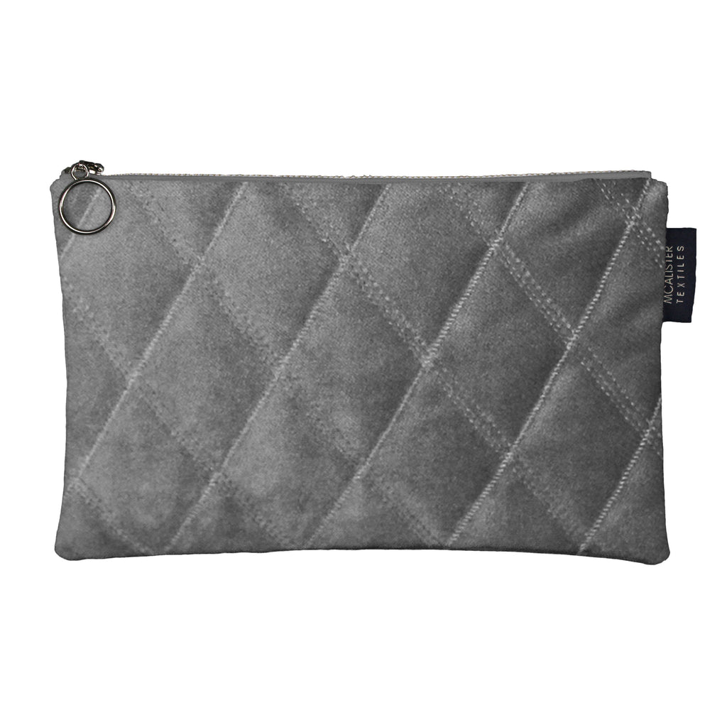 McAlister Textiles Diamond Pattern Silver Velvet Makeup Bag - Large Clutch Bag