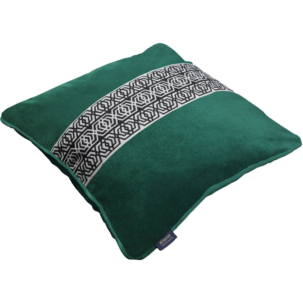 McAlister Textiles Coba Striped Emerald Green Velvet Cushion Cushions and Covers