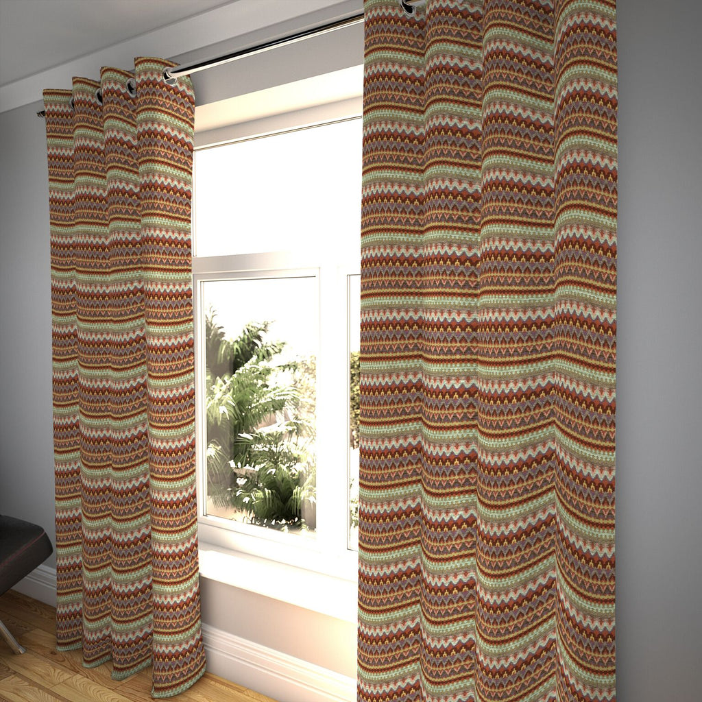 "McAlister Textiles Curitiba Aztec Red + Purple Curtains Tailored Curtains 116cm(w) x 182cm(d) (46"" x 72"")"
