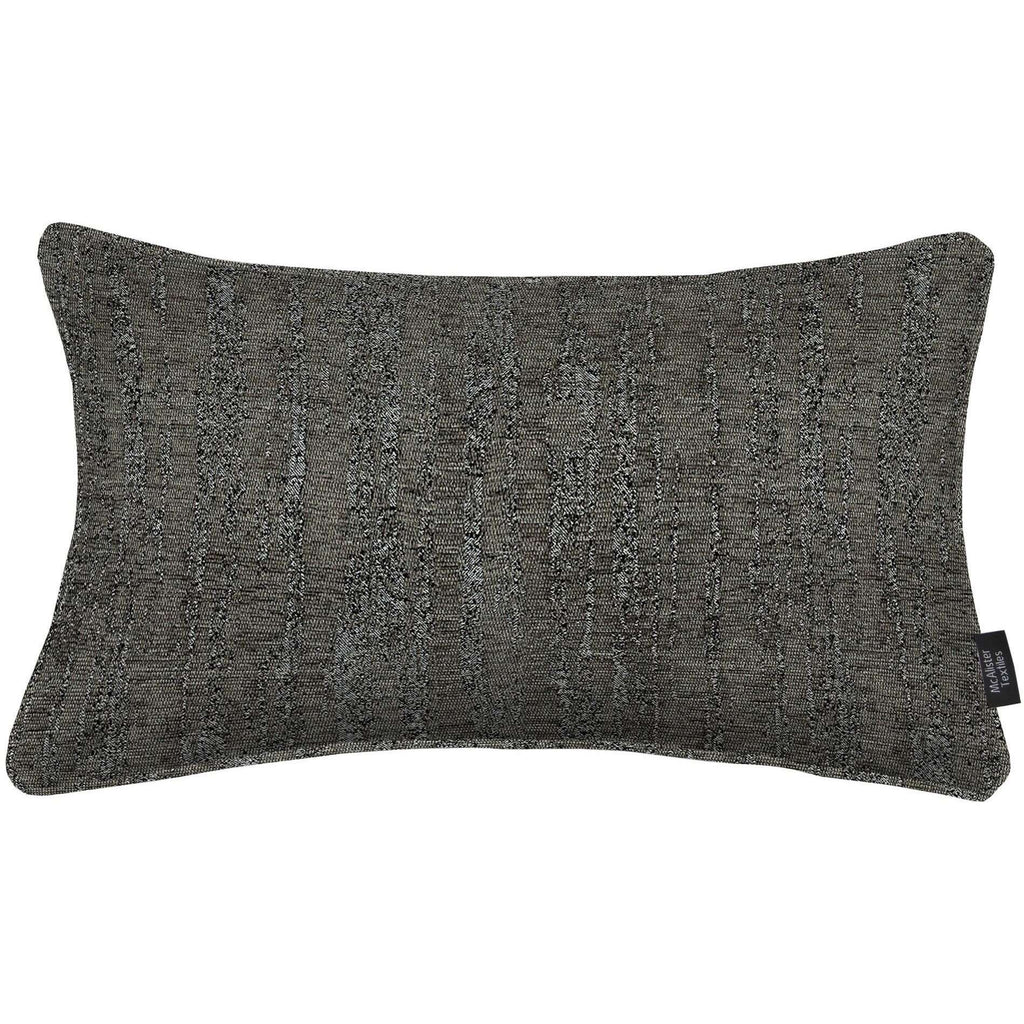 McAlister Textiles Textured Chenille Charcoal Grey Cushion Cushions and Covers Cover Only 50cm x 30cm