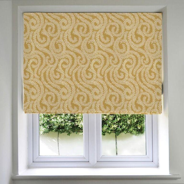 McAlister Textiles Little Leaf Mustard Yellow Roman Blinds Roman Blinds