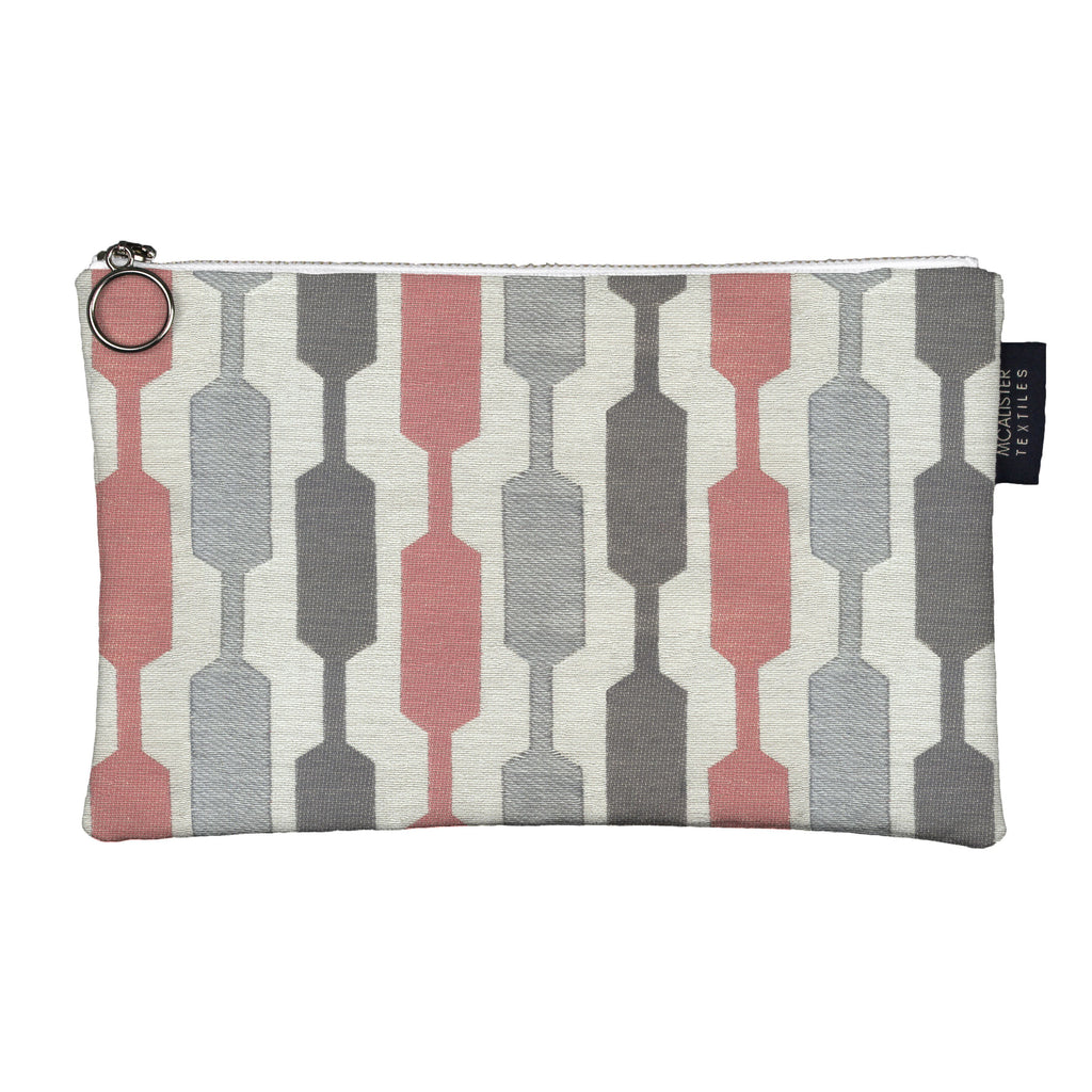McAlister Textiles Lotta Pink + Grey Makeup Bag - Large Clutch Bag