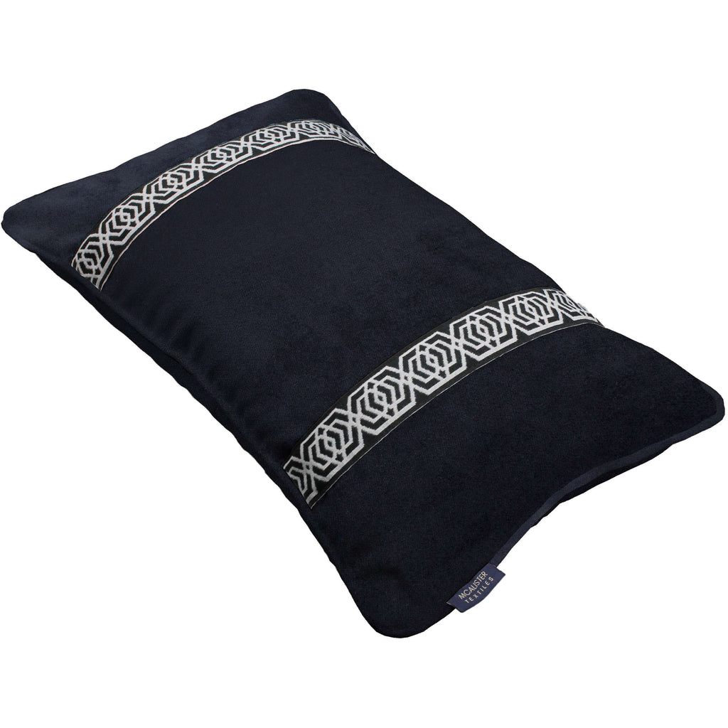 McAlister Textiles Coba Striped Black Velvet Cushion Cushions and Covers