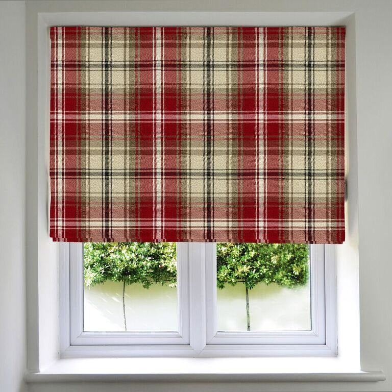 McAlister Textiles Angus Red + White Tartan Roman Blind Roman Blinds Standard Lining 130cm x 200cm