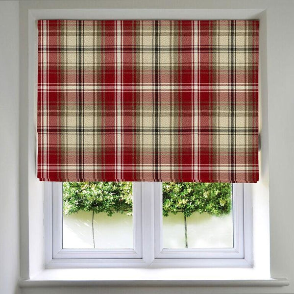 McAlister Textiles Angus Tartan Check Red + White Roman Blind Roman Blinds Standard Lining 130cm x 200cm