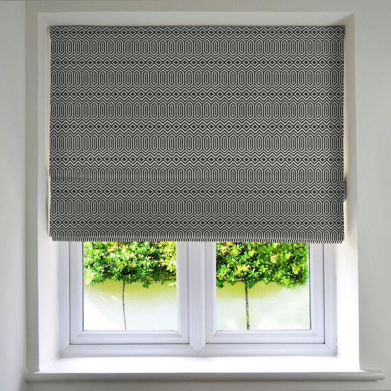 McAlister Textiles Colorado Geometric Black Roman Blind Roman Blinds
