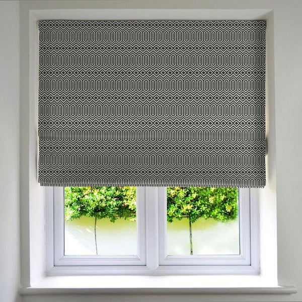 McAlister Textiles Colorado Geometric Black Roman Blinds Roman Blinds