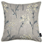 Cargar imagen en el visor de la galería, McAlister Textiles Meadow Soft Grey Floral Cotton Print Cushions Cushions and Covers Cover Only 43cm x 43cm