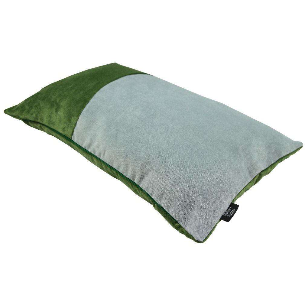 McAlister Textiles 2 Colour Patchwork Velvet Green + Silver Pillow Pillow