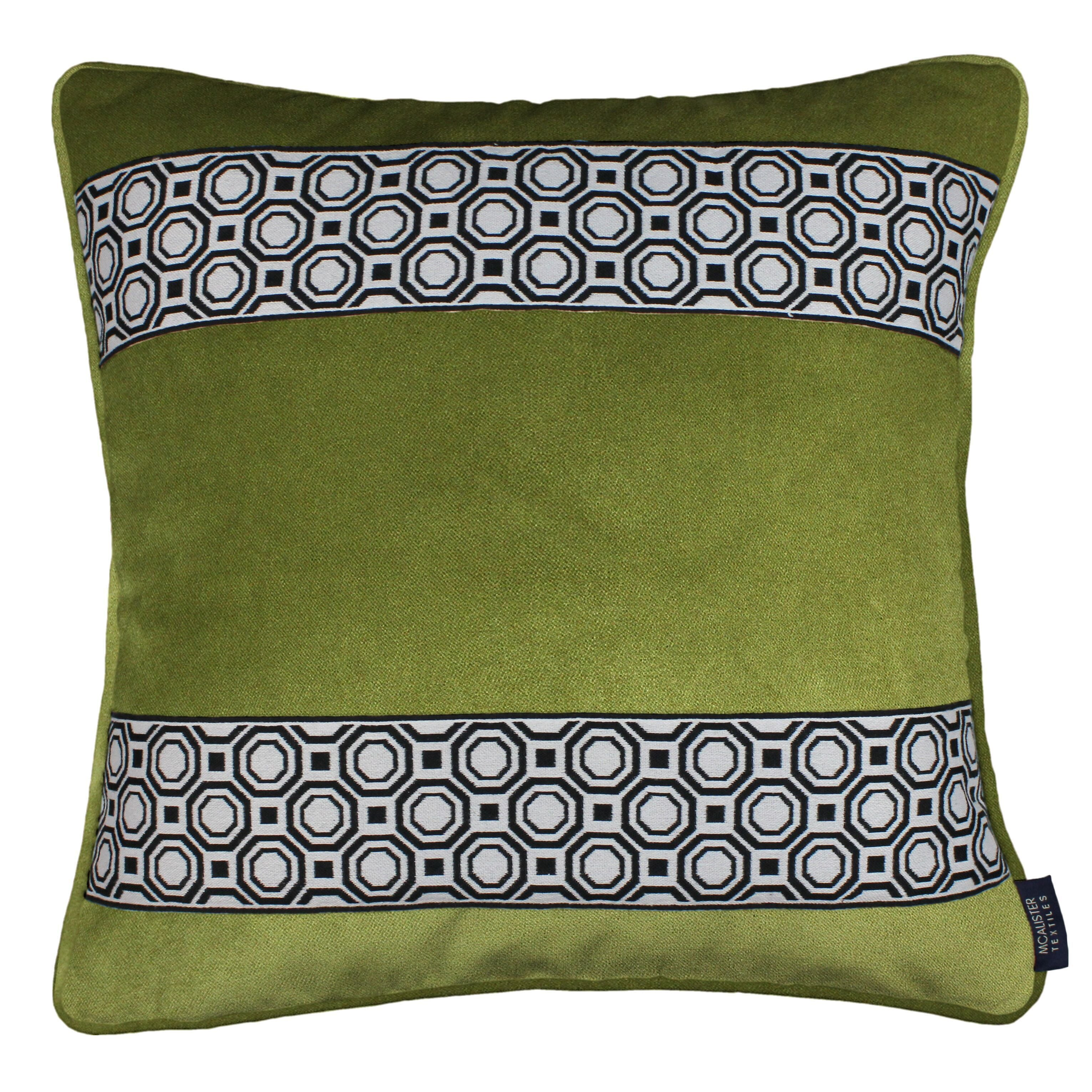 McAlister Textiles Cancun Striped Lime Green Velvet Pillow Pillow Cover Only 43cm x 43cm